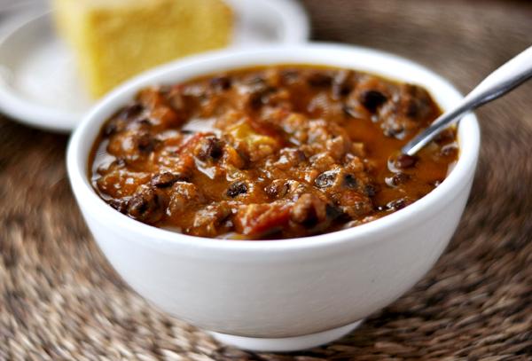 Gluten-free black bean pumpkin chili